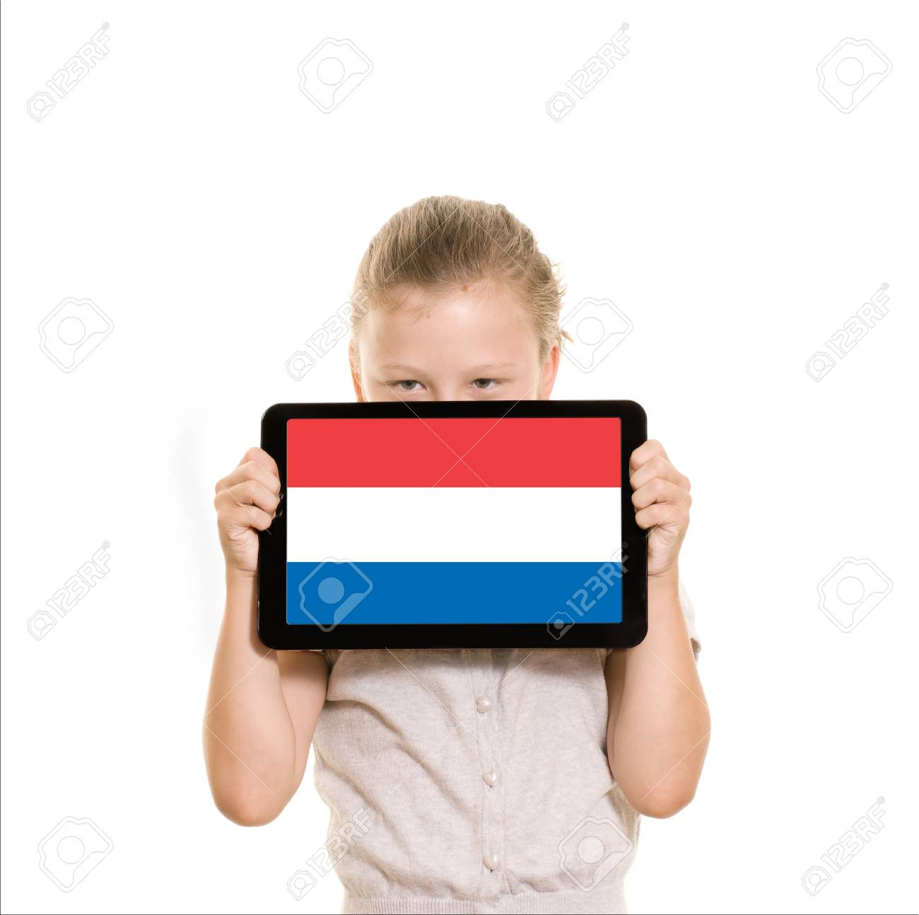 flag of Holland diplayed on tablet computer held by young girl Stock Photo - 21770383
