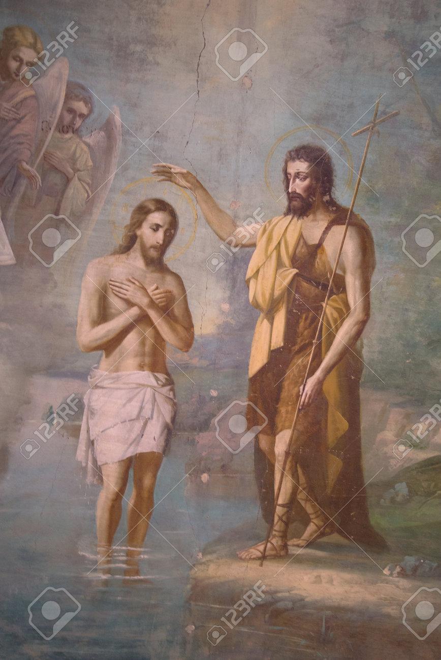 Immagini Stock Antico Affresco Del Battesimo Di Gesu Cristo