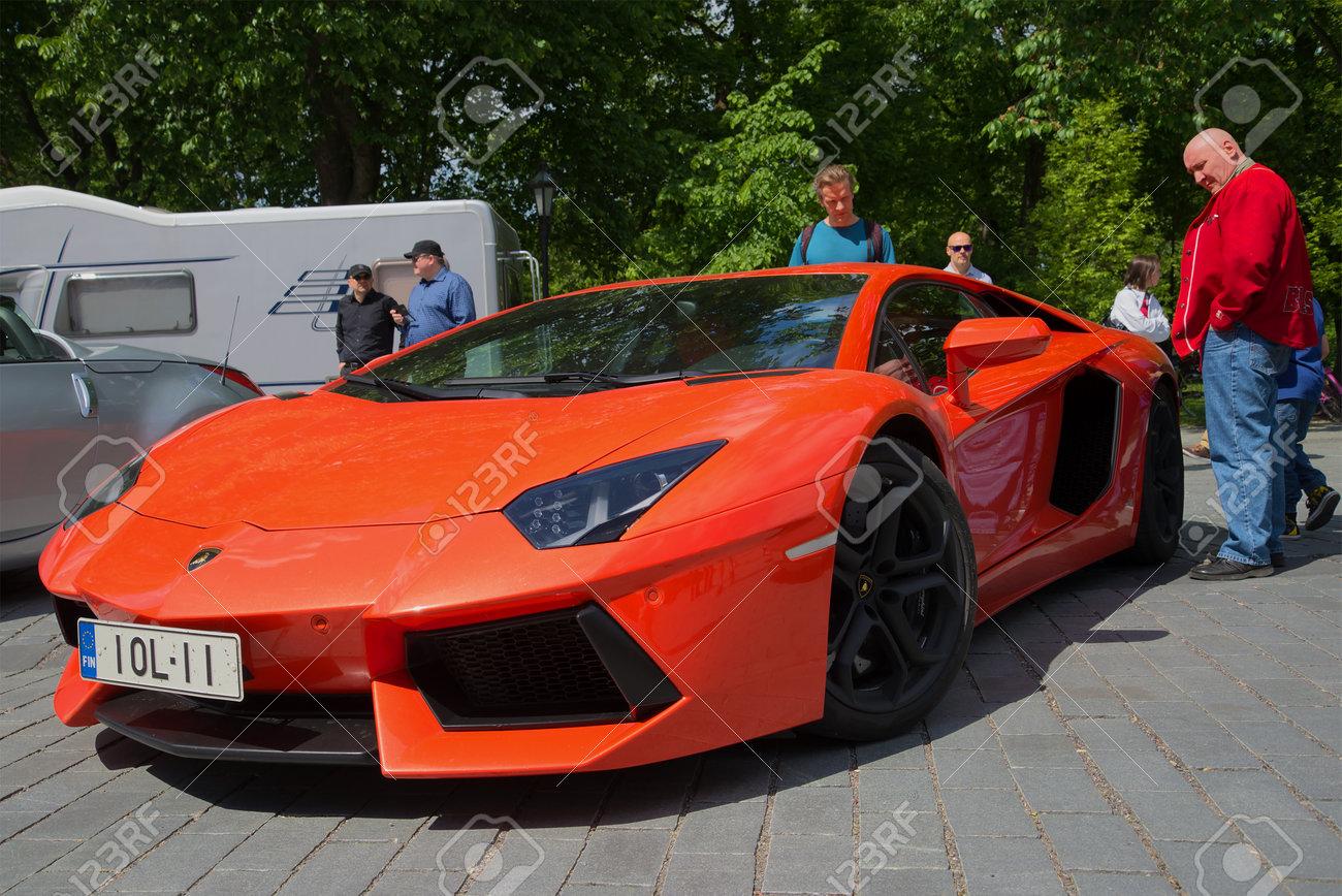 Turku Finland June 13 2015 Orange Lamborghini Aventador Stock