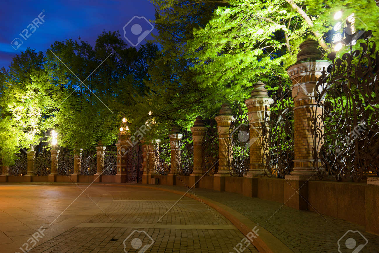 May Night At The Mikhailovsky Garden Lattice. St. Petersburg ...