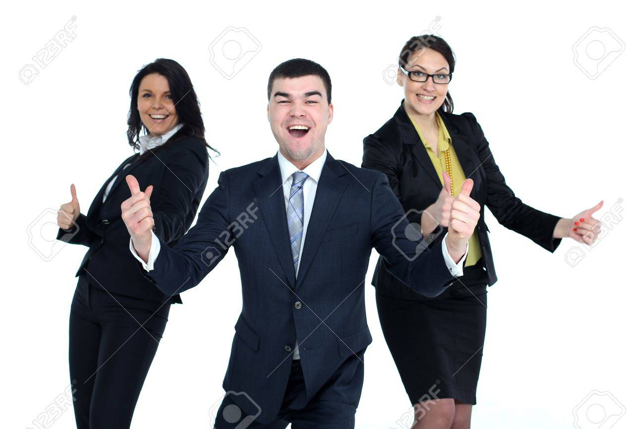 a young man and two young women with thumbs-up gesture isolated on white Stock Photo - 12746302