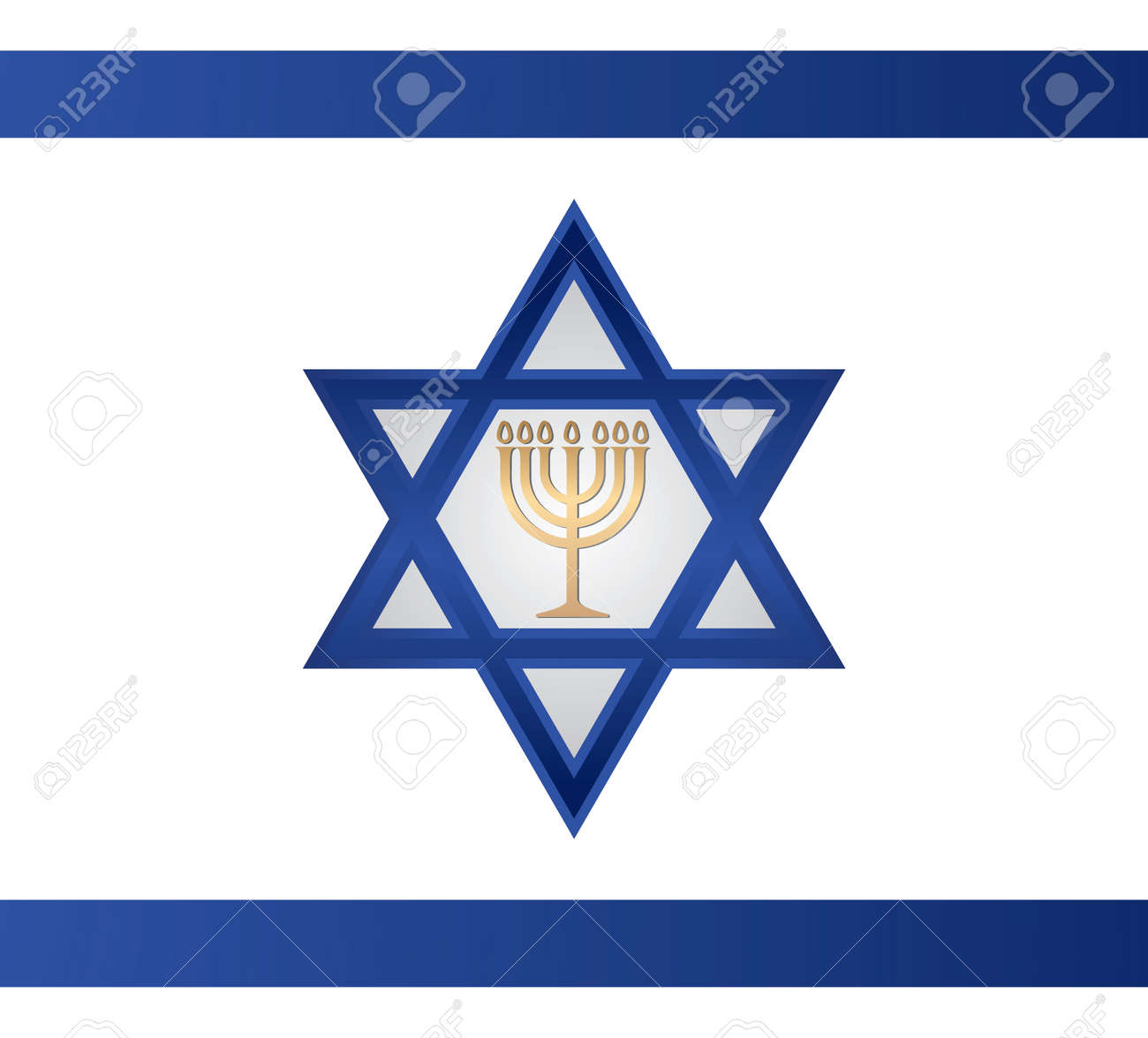 Jewish Menorah Vector.on Israel Flag. Royalty Free Cliparts ...