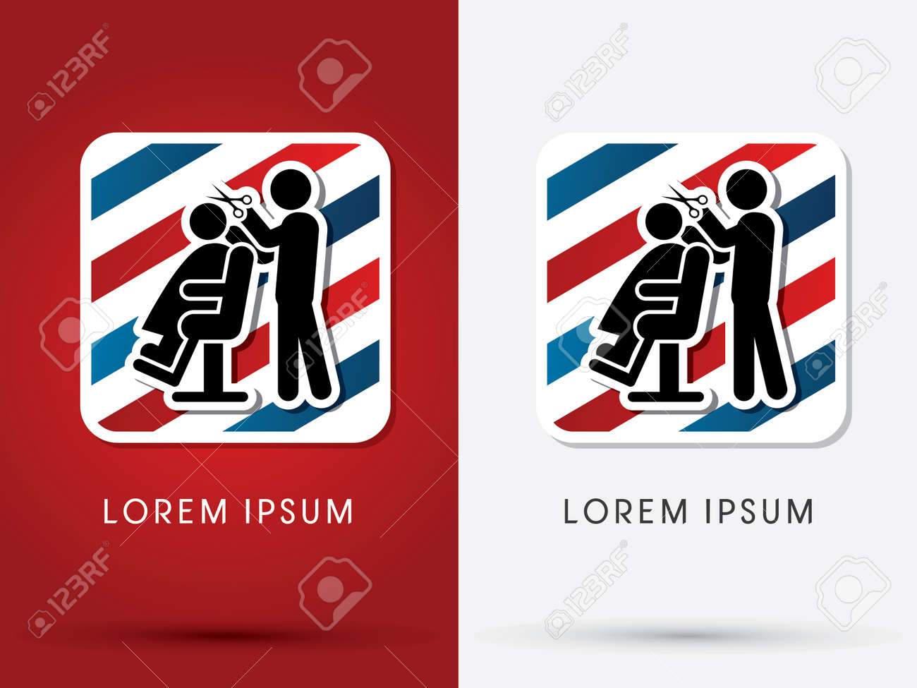 Barber Salon Haircut Logo Symbol Icon Graphic Vector Royalty Free