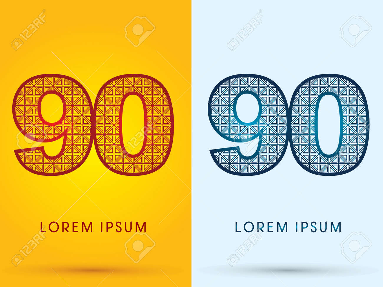 90 Number Luxury Font Hot And Cool Logo Symbol Icon Graphic Vector Stock