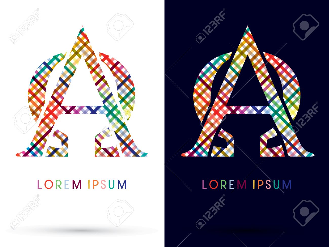 Alpha And Omega Colorful Font Designed Using Colors Line On White