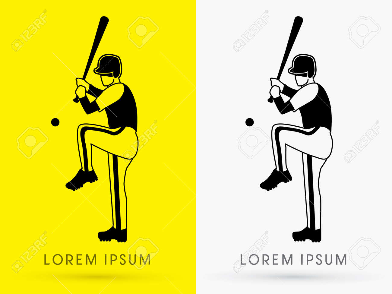 baseball player ready to hit a ball outline logo symbol icon