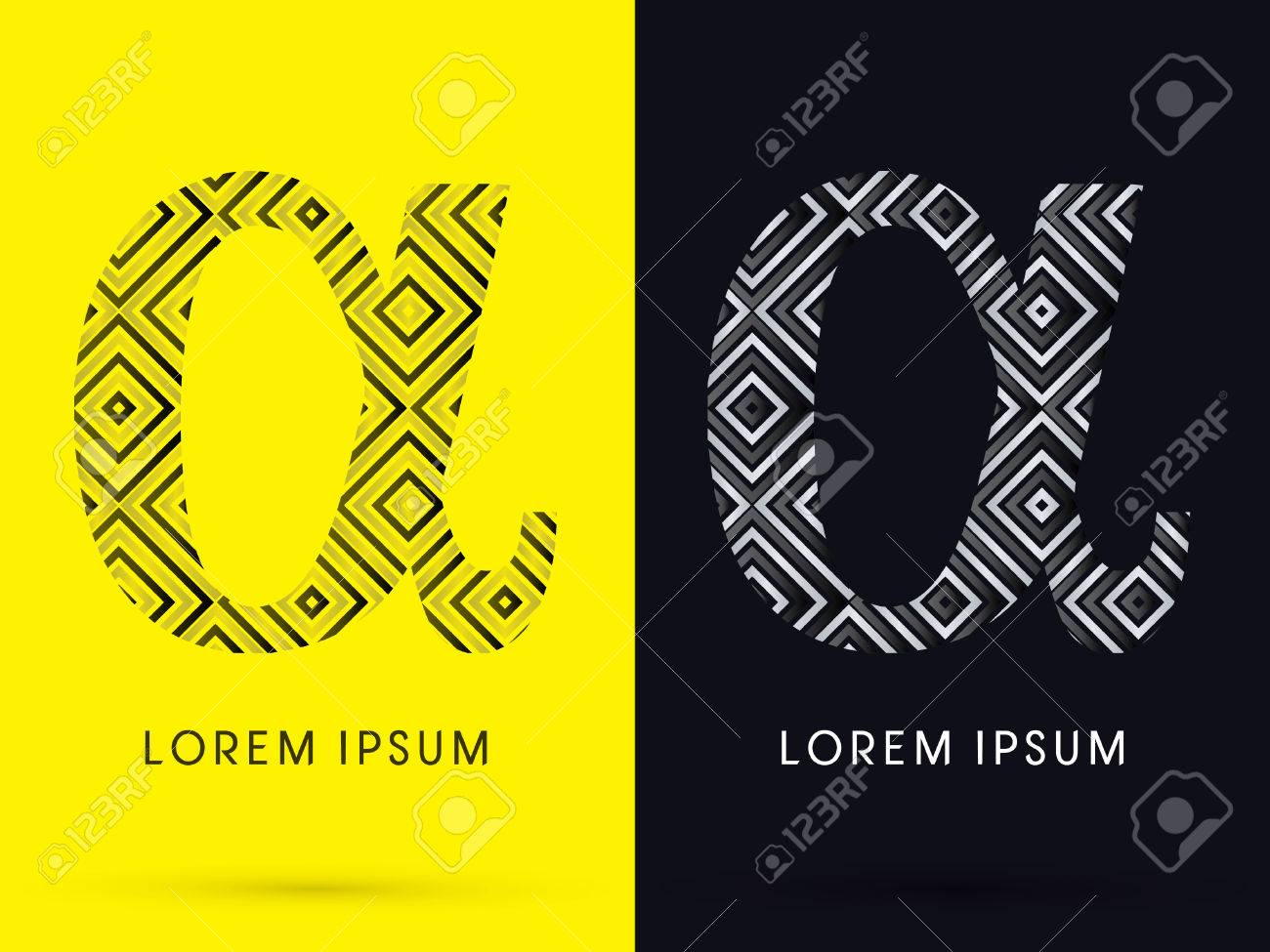 Alpha Luxury Font Designed Using Black And White Line Square