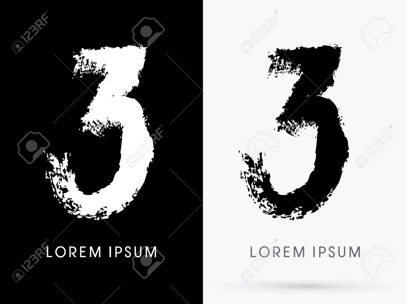 3 Number Grunge Brush Freestyle Font Designed Using Black And White Handwriting Line Shape Logo Symbol