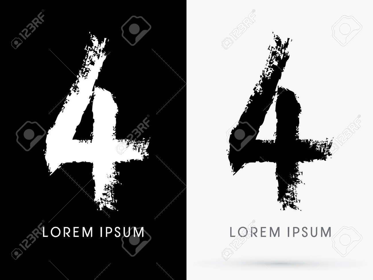 4 Number Grunge Brush Freestyle Font Designed Using Black And White Handwriting Line Shape Logo Symbol