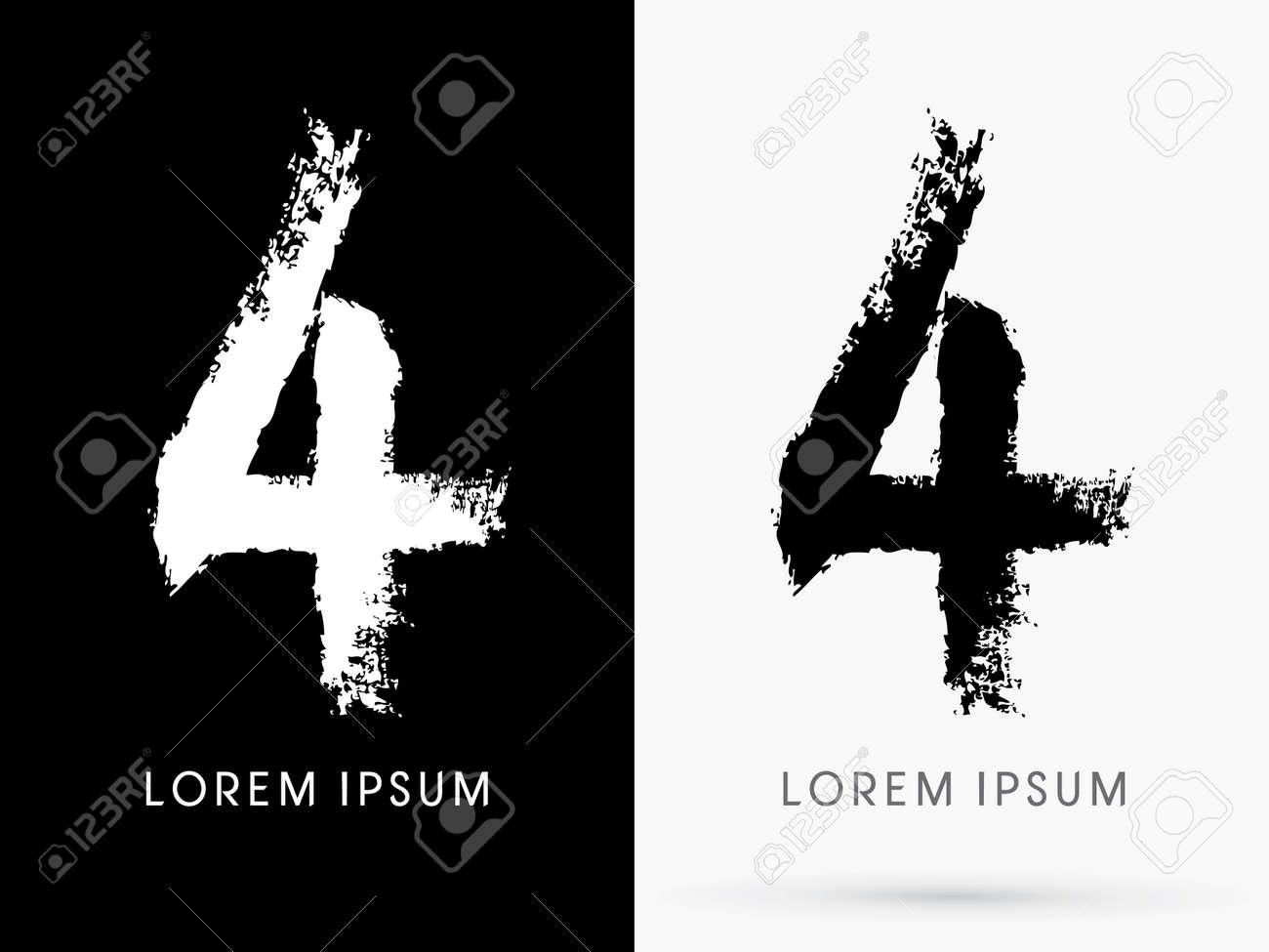4 Number Grunge Brush Freestyle Font Designed Using Black And White Handwriting Line Shape Logo Symbol