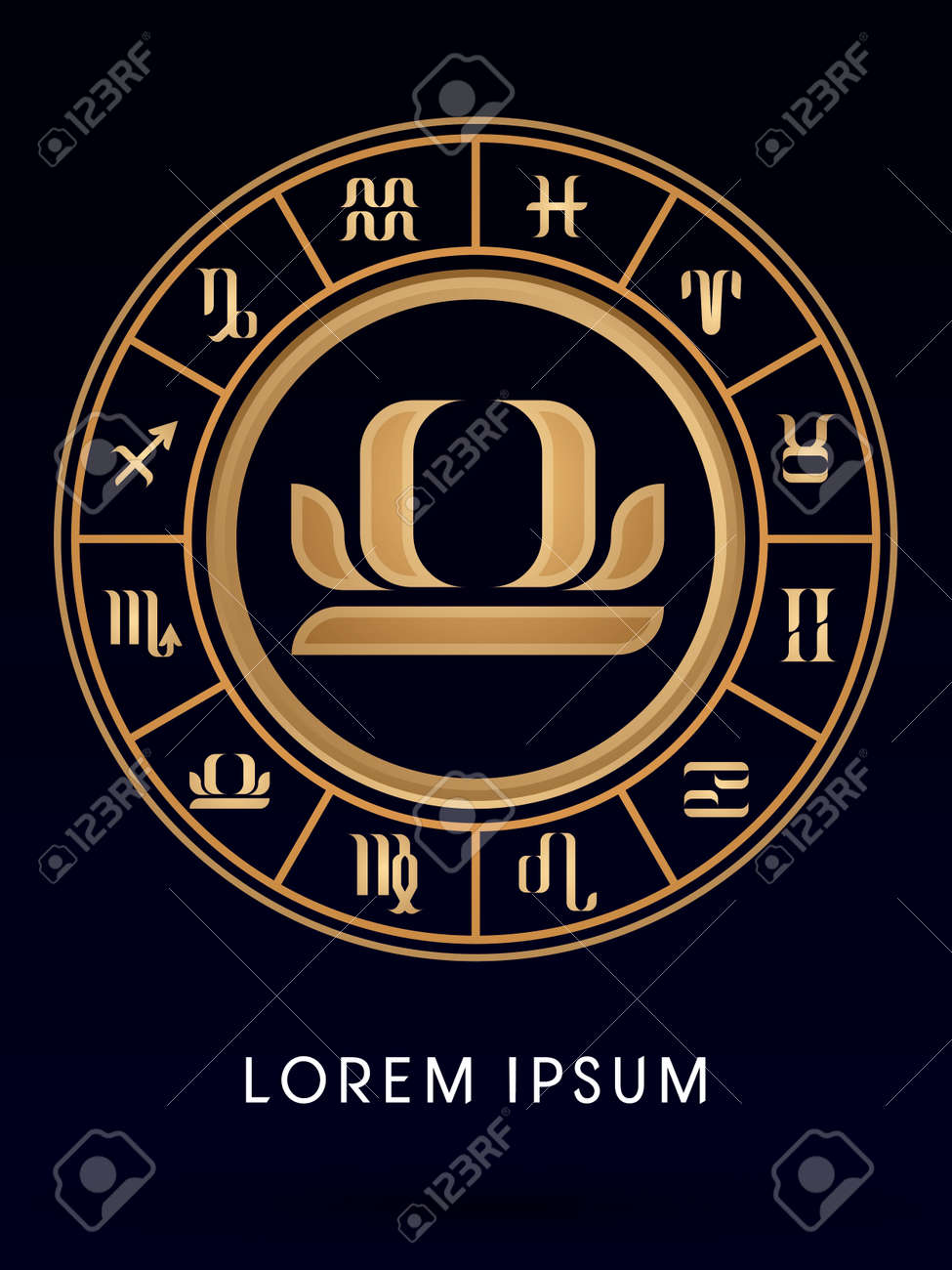 Libra luxury 12 zodiac wheel cycle sign designed using gold line libra luxury 12 zodiac wheel cycle sign designed using gold line color on dark blue background buycottarizona Gallery