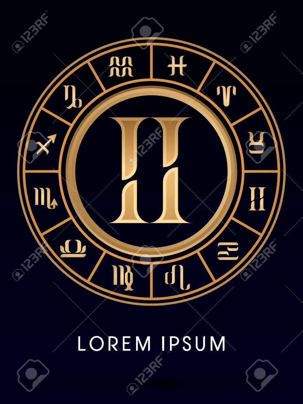 Gemini luxury 12 zodiac wheel cycle sign designed using gold gemini luxury 12 zodiac wheel cycle sign designed using gold line color on dark blue background buycottarizona