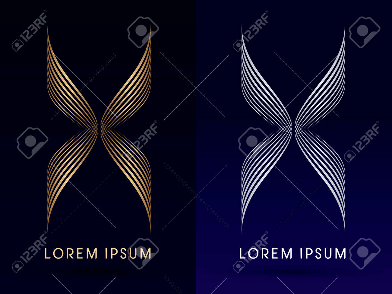 Luxury abstract butterfly x wings designed using gold and silver luxury abstract butterfly x wings designed using gold and silver linelogo symbol icon graphic vector biocorpaavc Images