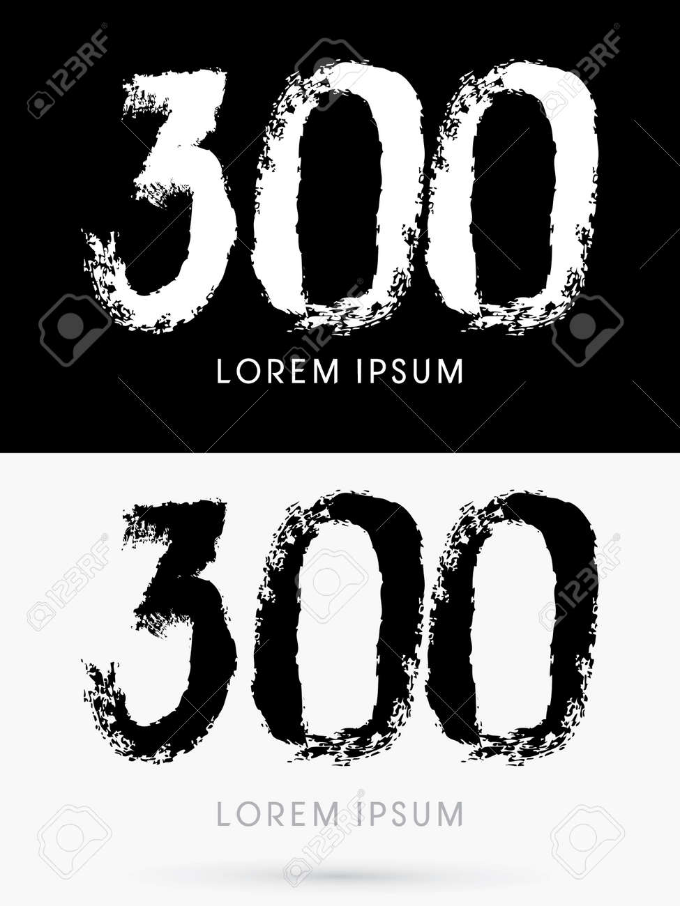 300 Number Grunge Brush Freestyle Font Designed Using Black And White Handwriting Line Shape Logo Symbol