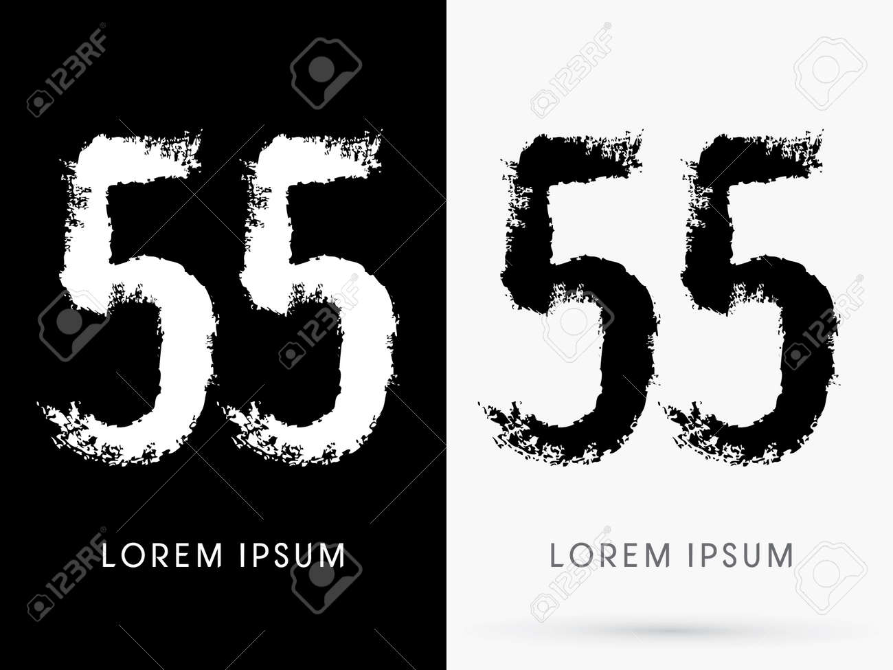 55 Number Grunge Brush Freestyle Font Designed Using Black And White Handwriting Line Shape Logo Symbol