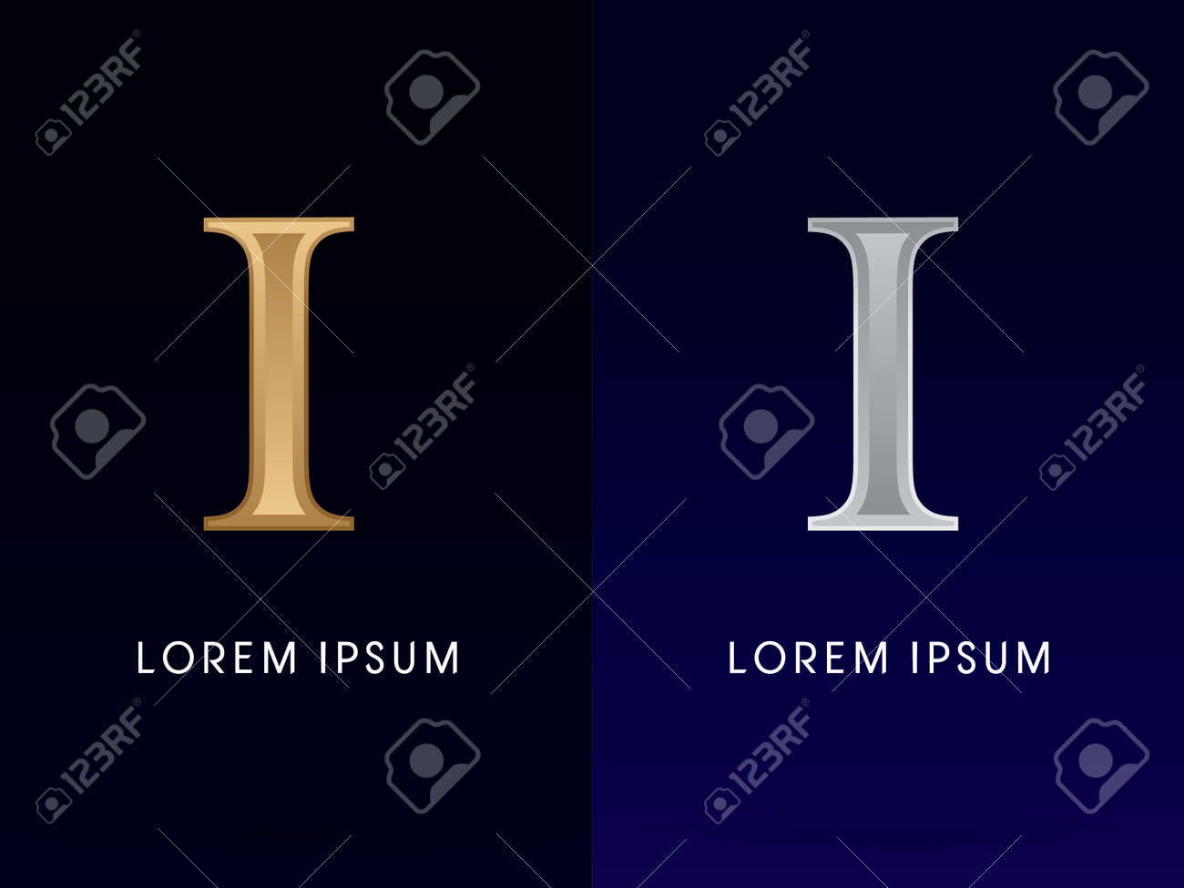 1 I Luxury Gold And Silver Roman Numerals Sign Logo Symbol