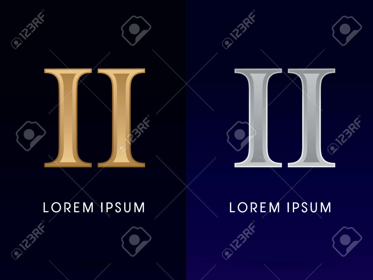 2, II, 럭셔리 골드 및 실버 로마 숫자, 기호, 로고, 기호