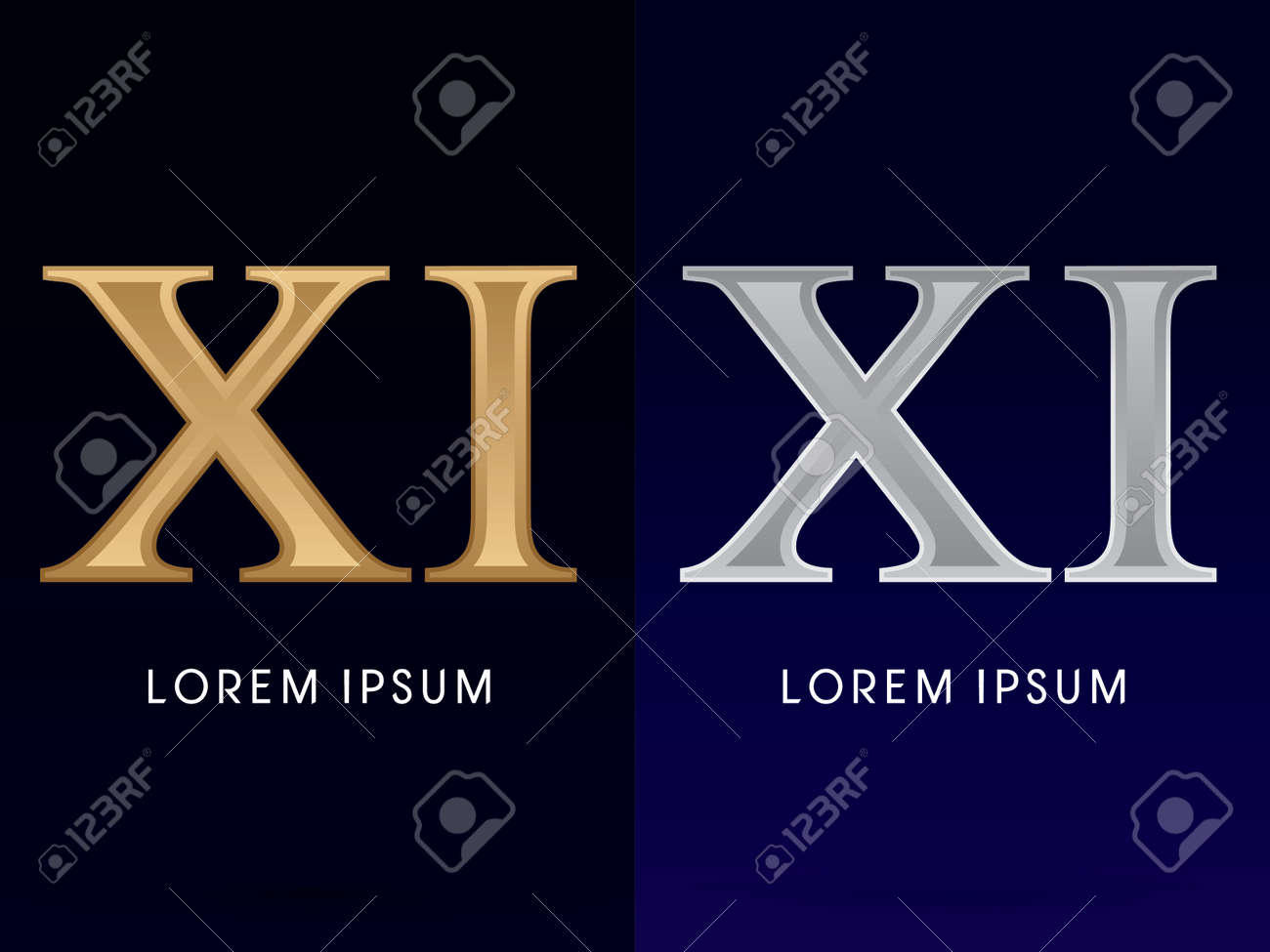 11 Xi Luxury Gold And Silver Roman Numerals Sign Logo Symbol