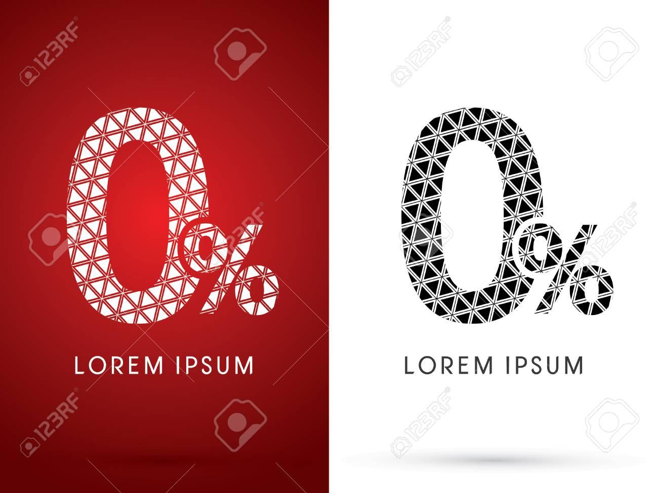 0 Zero Percent Modern Font Designed Using White And Black Triangle Geometric Shape