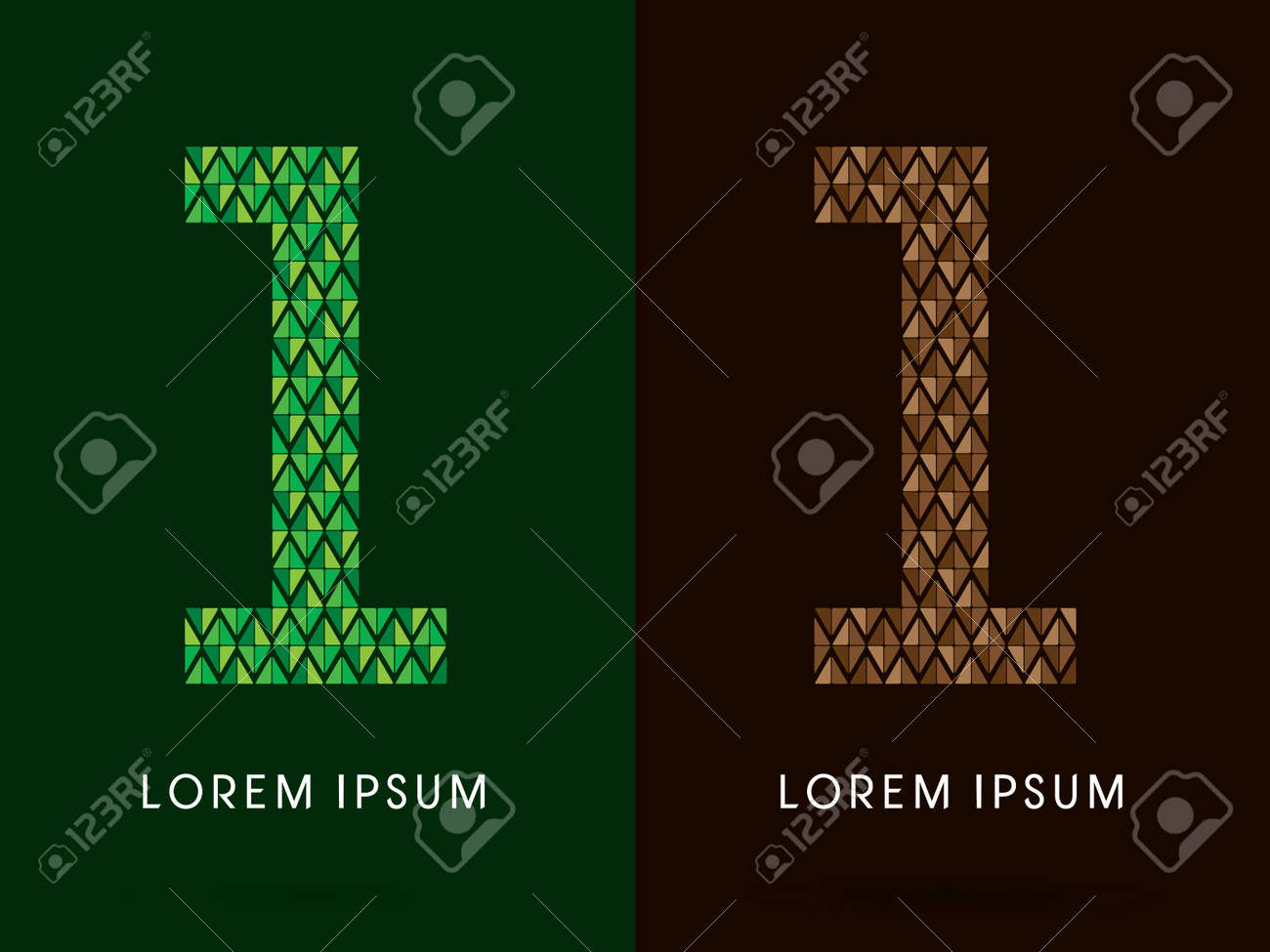 1 Font Concept Leaf And Rock Designed Using Colors Green
