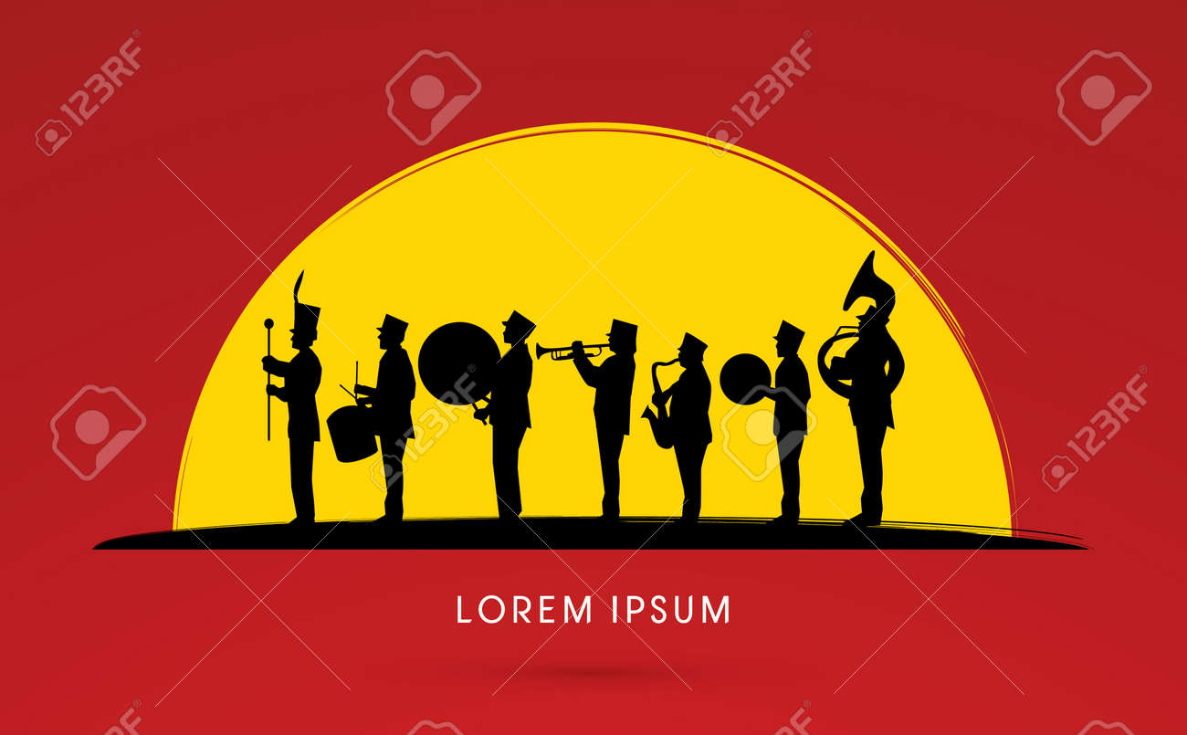 Silhouette Marching Band, parade, on sun set background ,graphic vector. - 43031141
