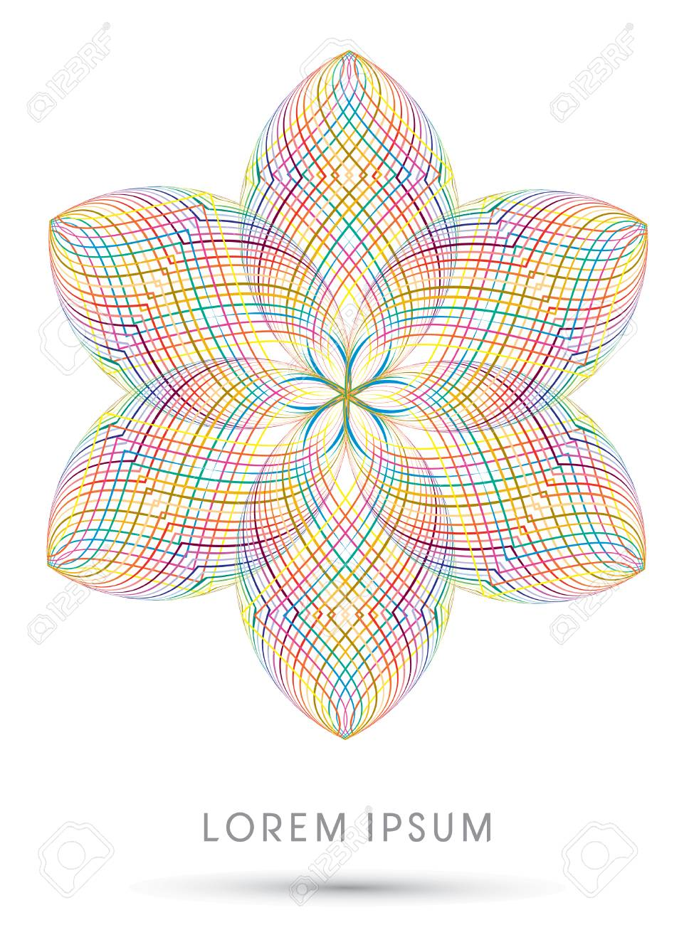 Abstract Lotus Blossom Flower Designed Using Colorful Line