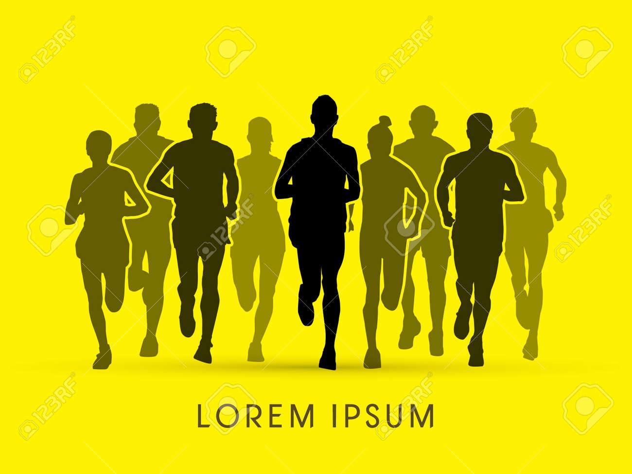 Marathon Runners Front View Graphic Vector Stock