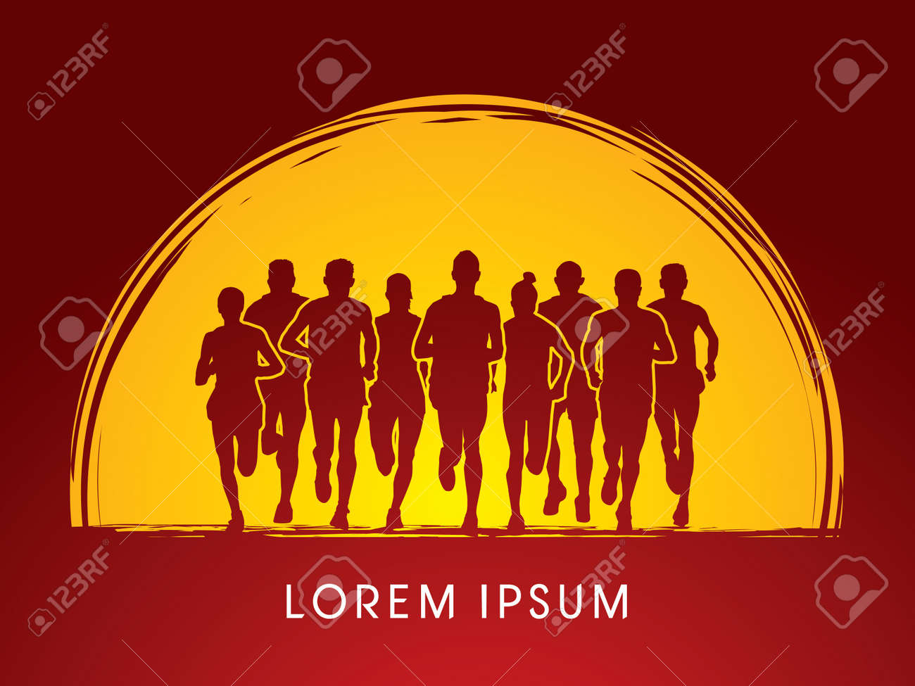 Marathon Runners Front view, on sunset or moon background, graphic vector. - 45236080