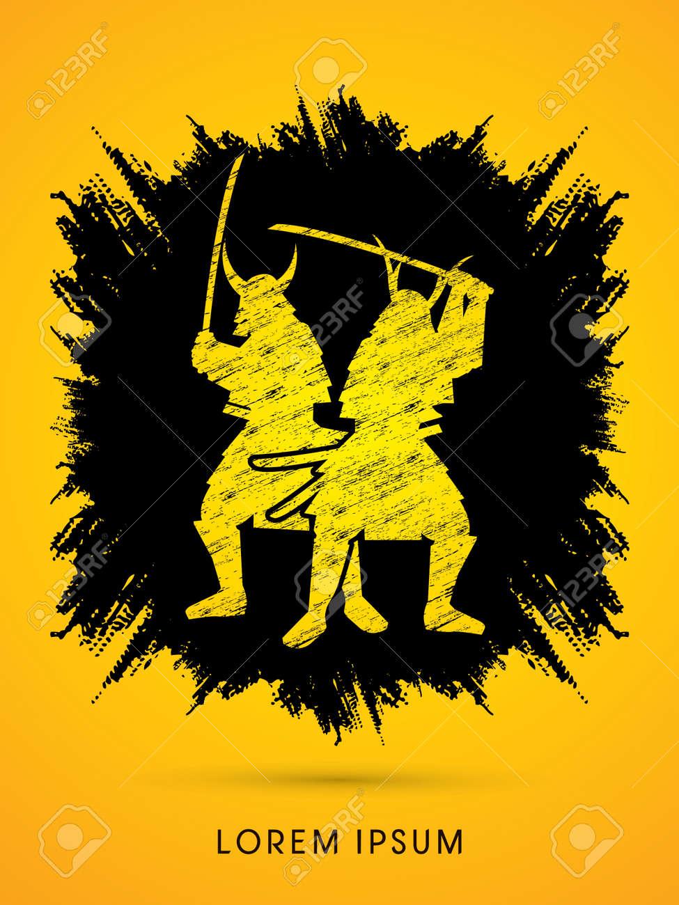 Silhouette Twin Samurai Warrior With Sword Designed On Grunge