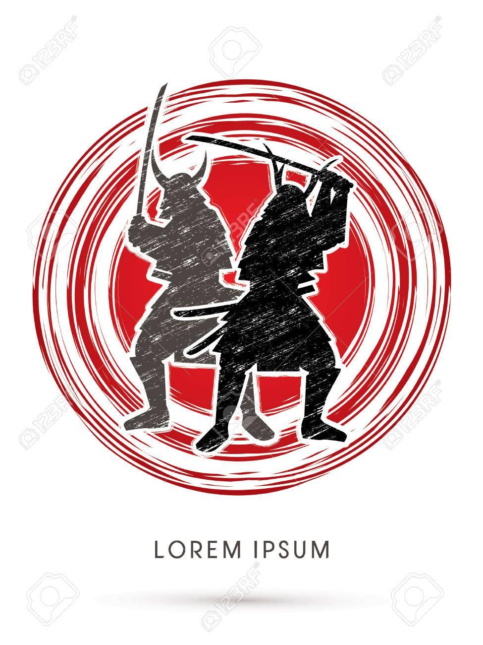 Silhouette Twin Samurai Warrior With Sword Designed Using Grunge