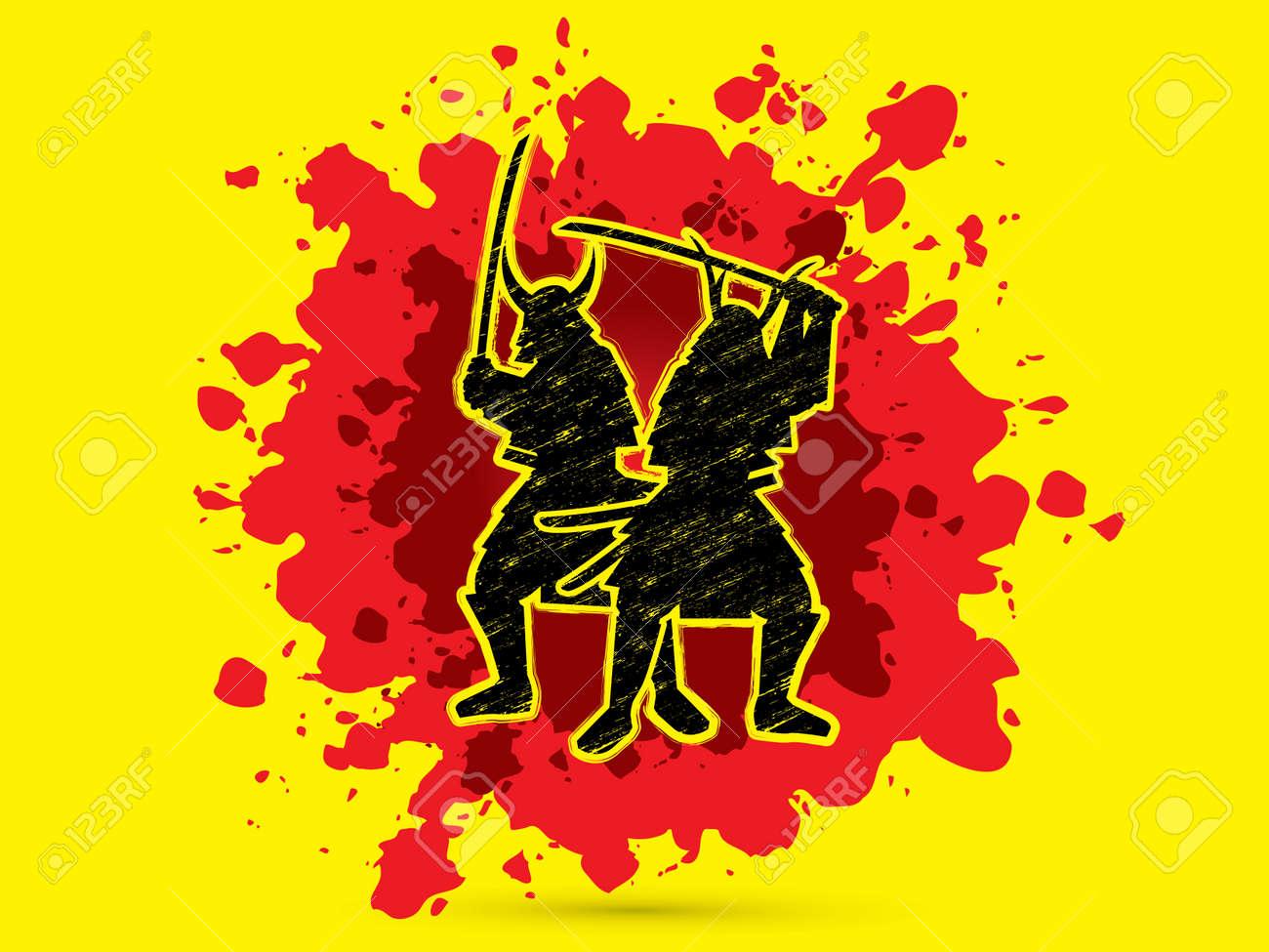 Silhouette Twin Samurai Warrior With Sword Designed Using