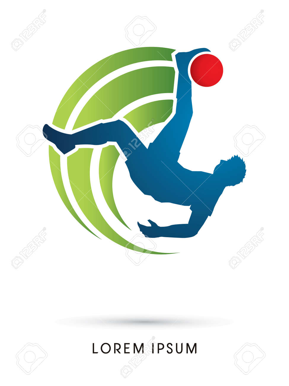 Soccer player hit the ball, Bicycle Kick graphic vector. - 48842325