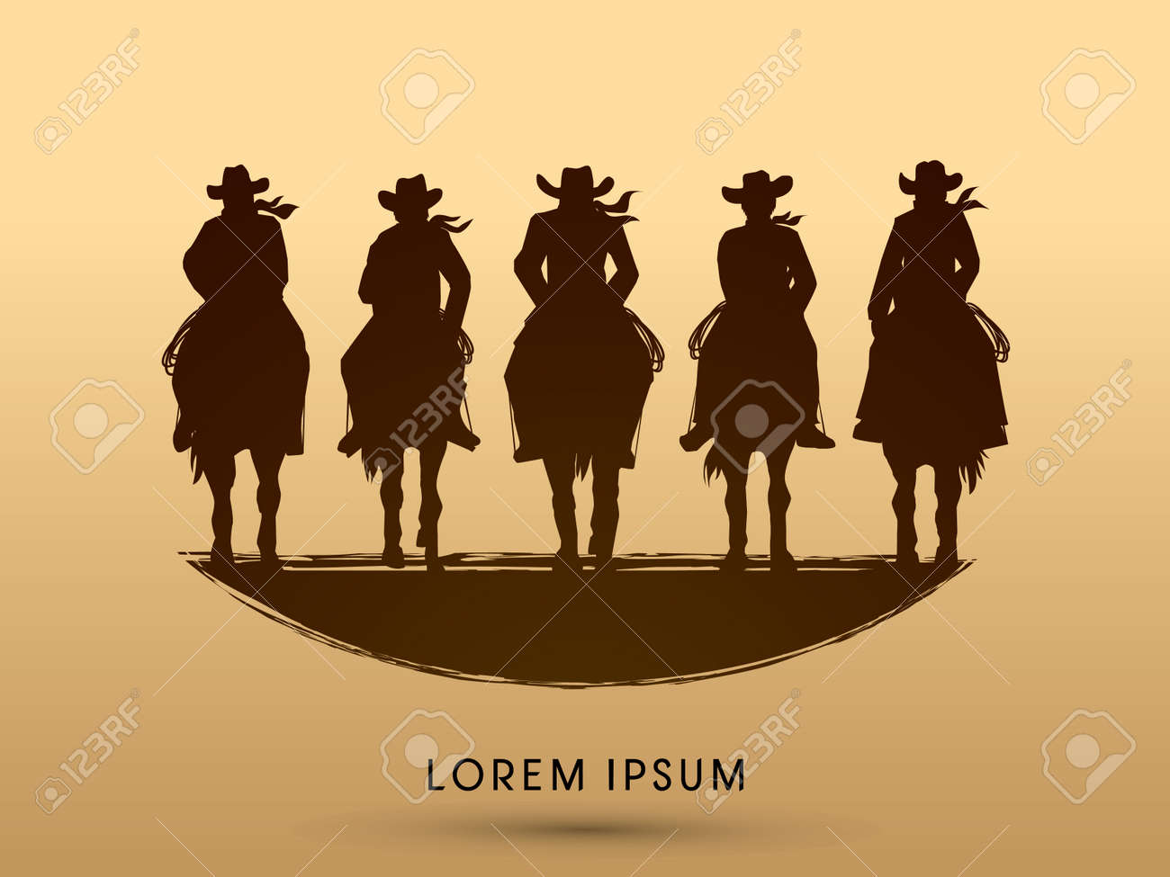 Silhouette, Cowboy Gangs on horse, graphic vector - 49477368