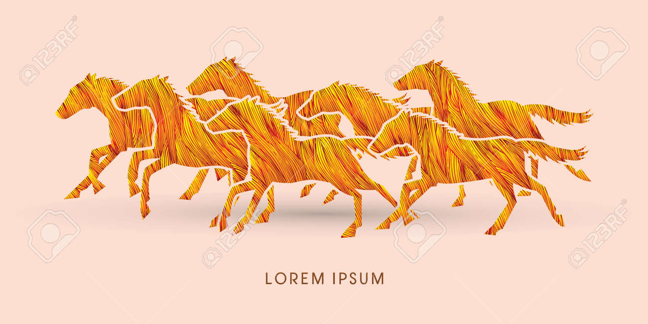 7 Horses Running Designed Using Red Grunge Brush Graphic Vector Royalty Free Cliparts Vectors And Stock Illustration Image 49542382