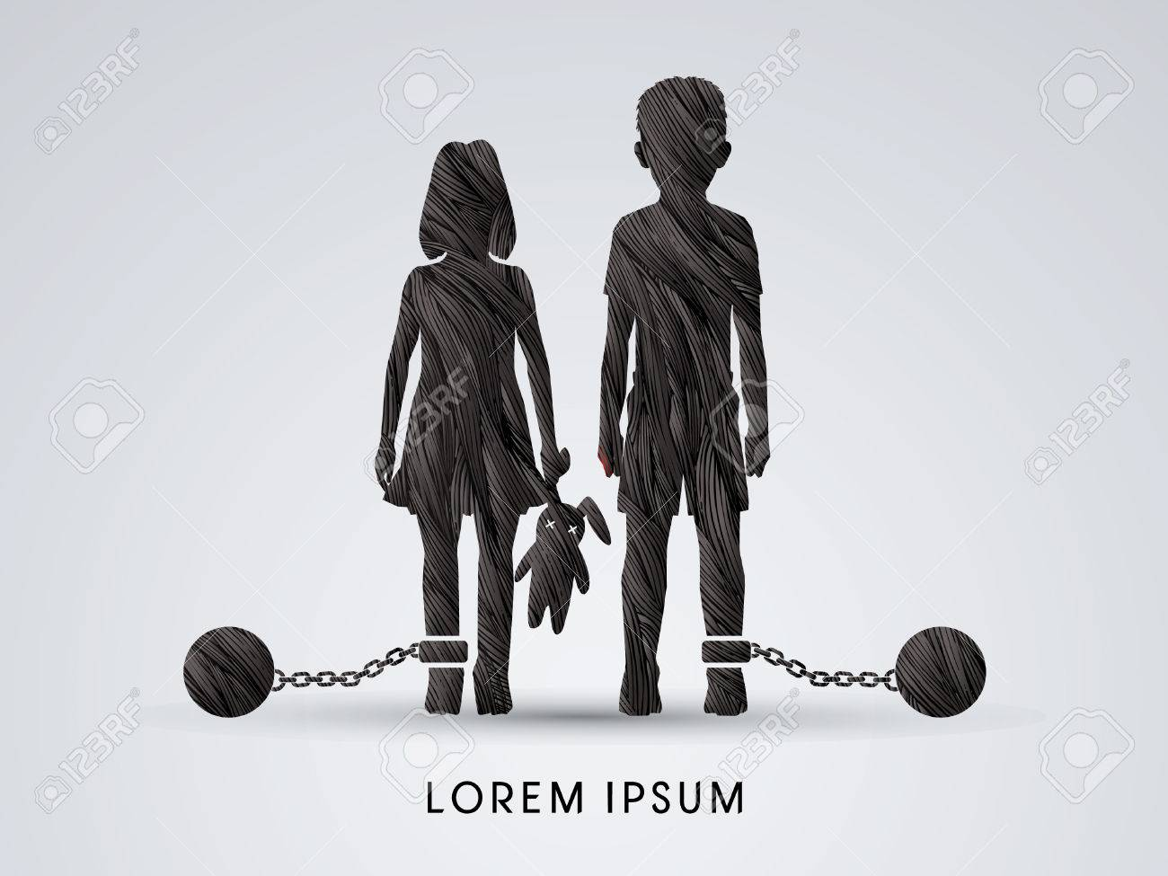Stop Child abuse ,Children with chain and ball designed using black grunge brush graphic vector. - 52802678
