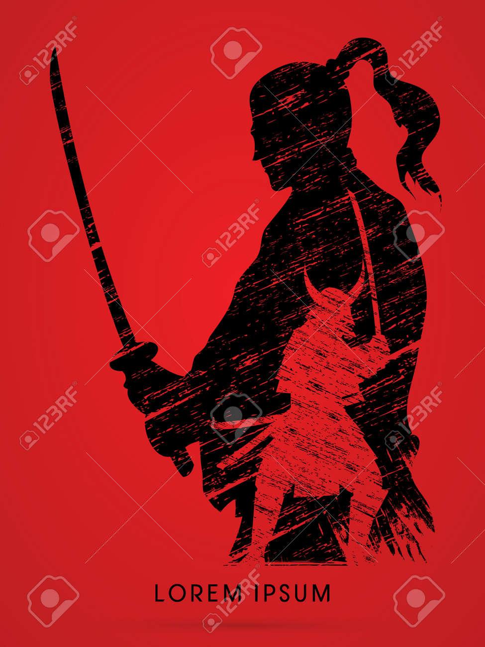 Silhouette Samurai, Ready to fight designed using grunge brush graphic vector - 52803954