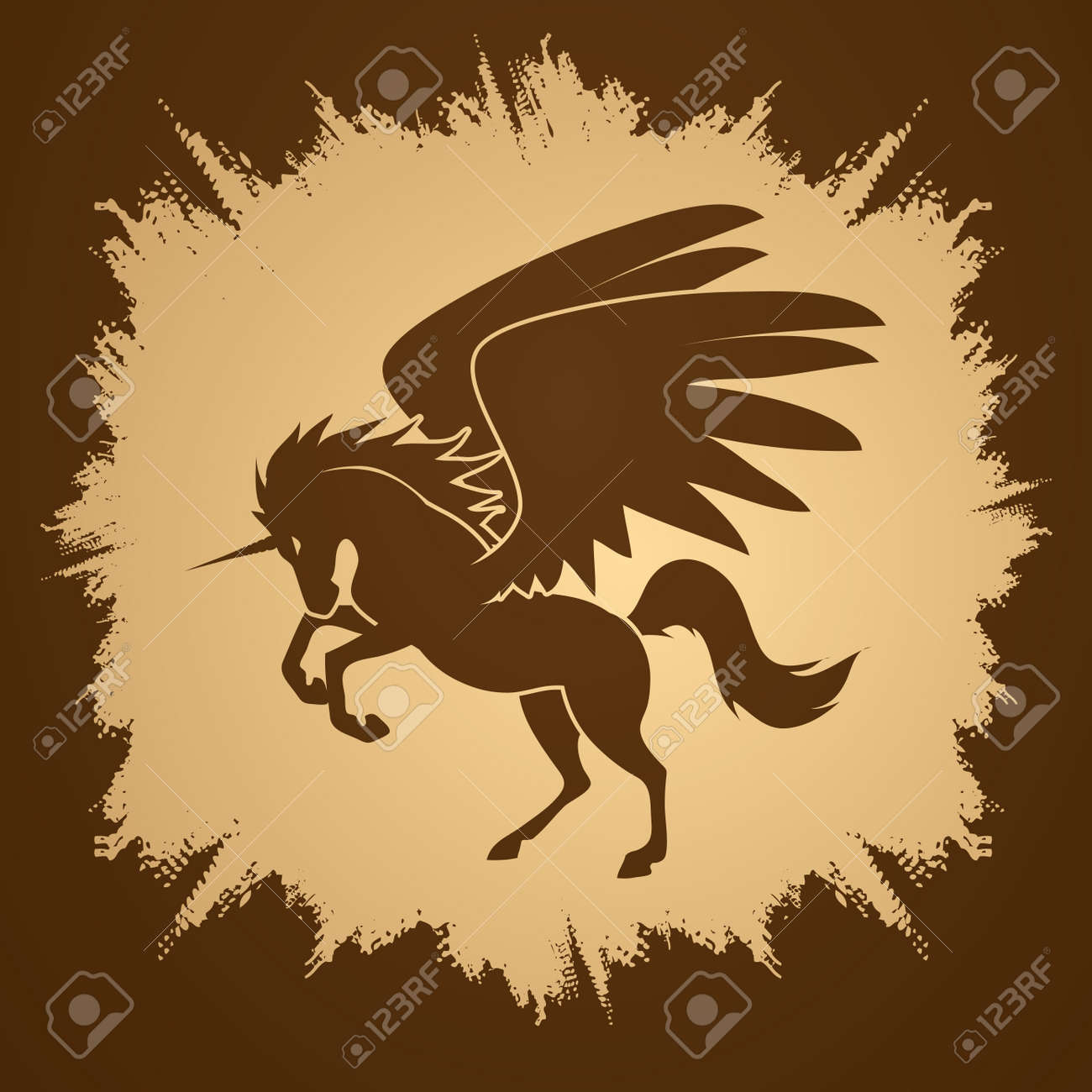 Fly Unicorn silhouette designed on grunge frame background graphic