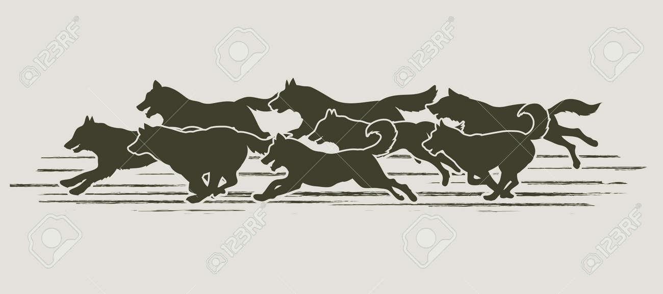 Dogs running designed using grunge brush graphic vector. - 54448369