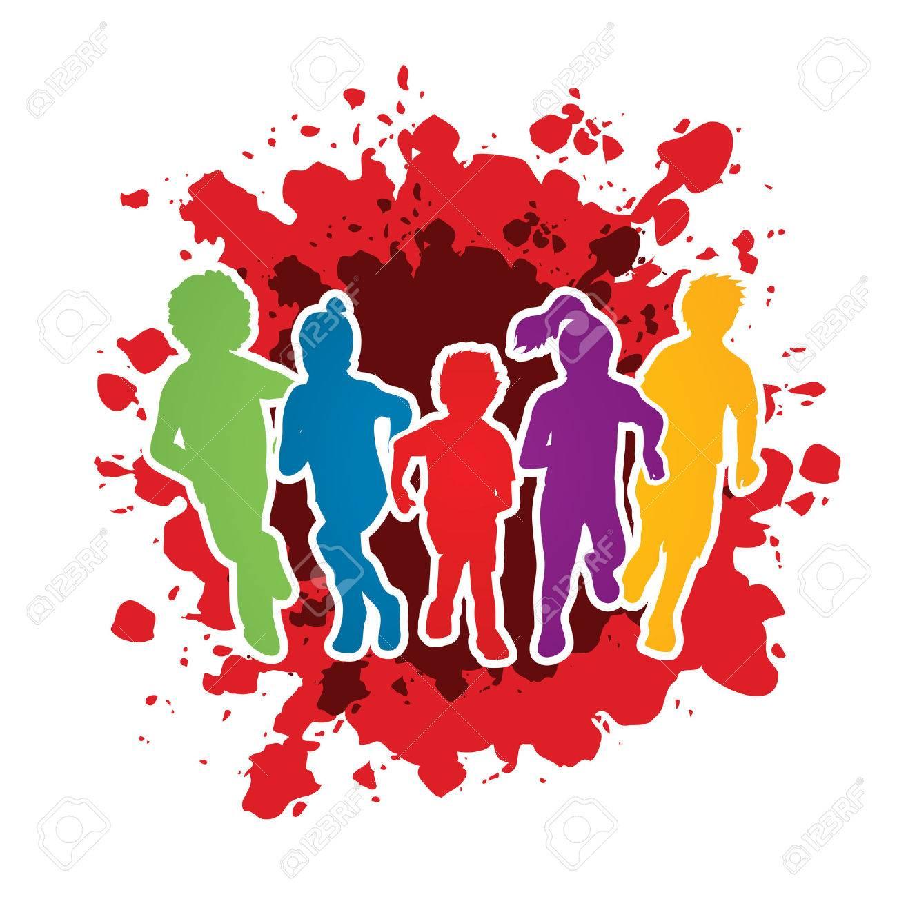 Group of children running , Front view designed on splash ink background graphic vector. - 55997704