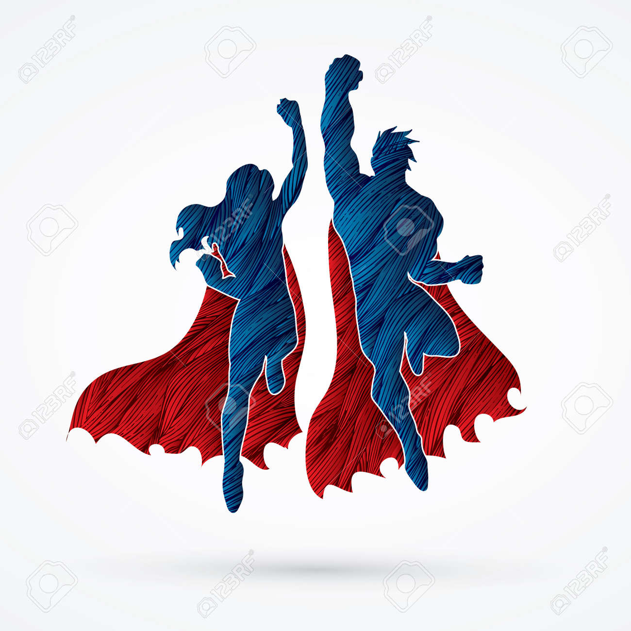 Superhero Man and Woman jumping designed using grunge brush graphic vector. - 60393747