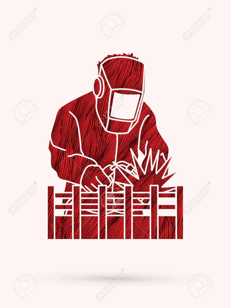 Welding with sparks designed using red grunge brush graphic vector. - 61348158