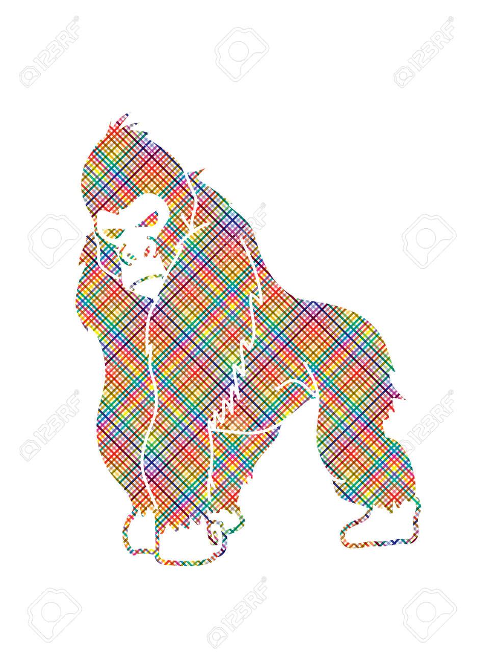 selección premium 98336 7eb57 Gorila de pie diseñado con píxeles de colores de gráficos vectoriales.