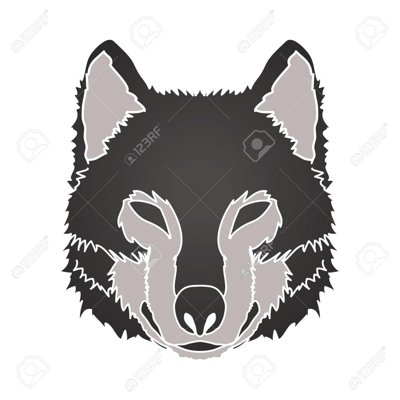 黒狼顔正面グラフィック ベクトル