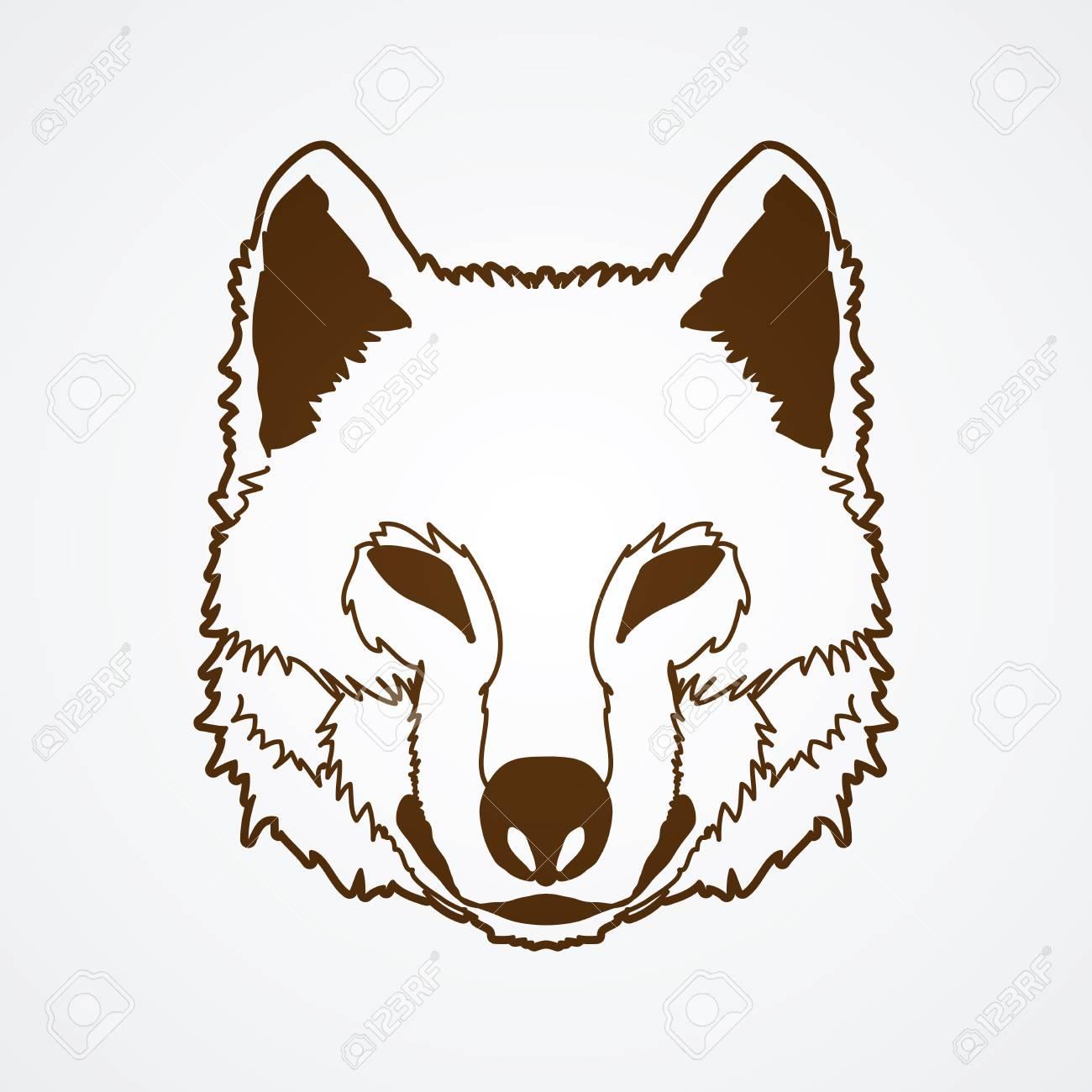 オオカミの顔正面概要グラフィック ベクトル