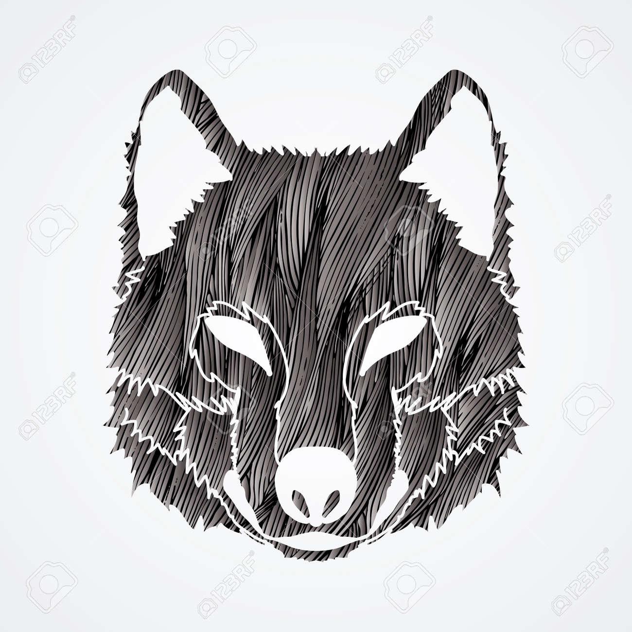 オオカミの顔正面図黒グランジ ブラシ グラフィック ベクトルを使用して設計されています
