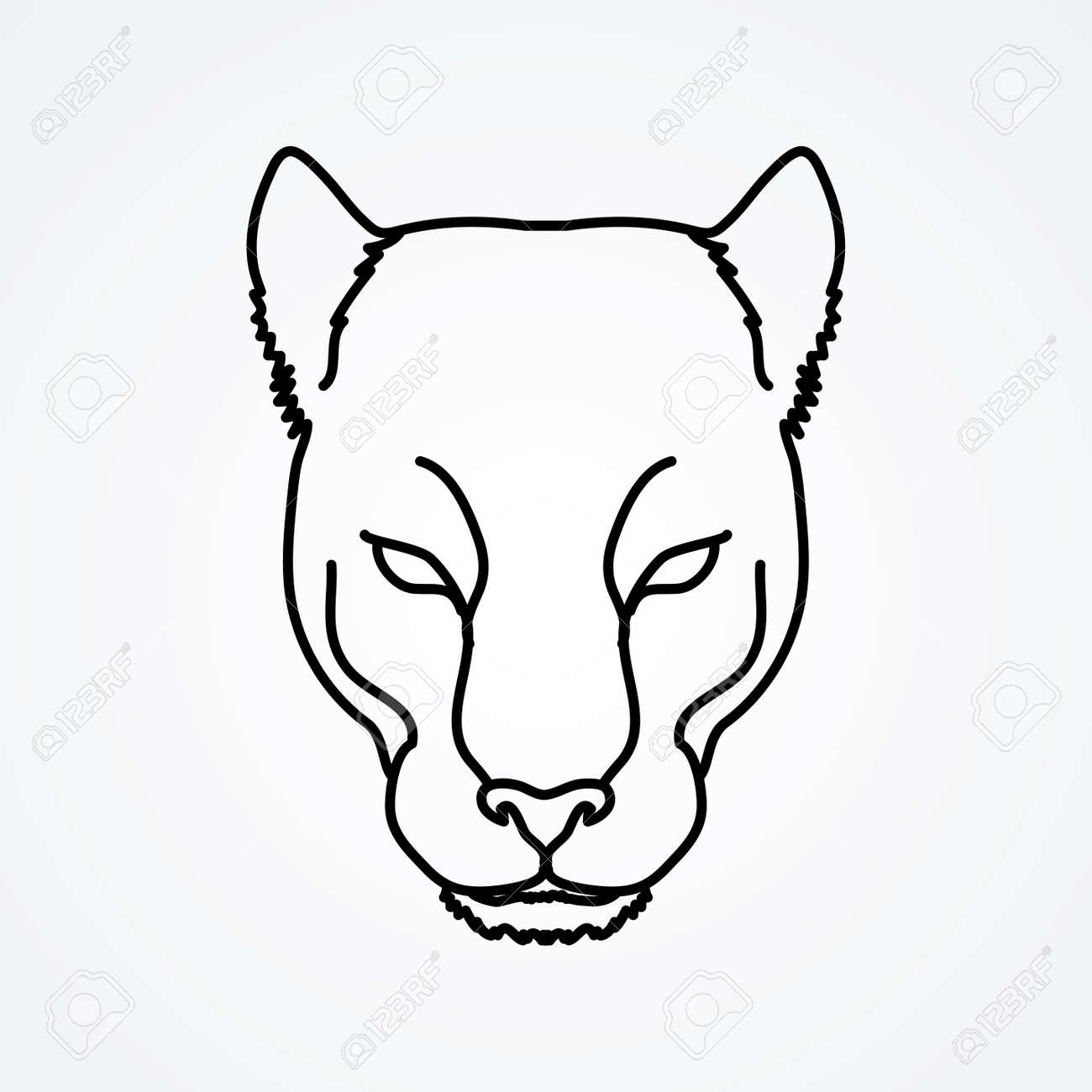 Black panther head outline graphic vector stock vector 66643705