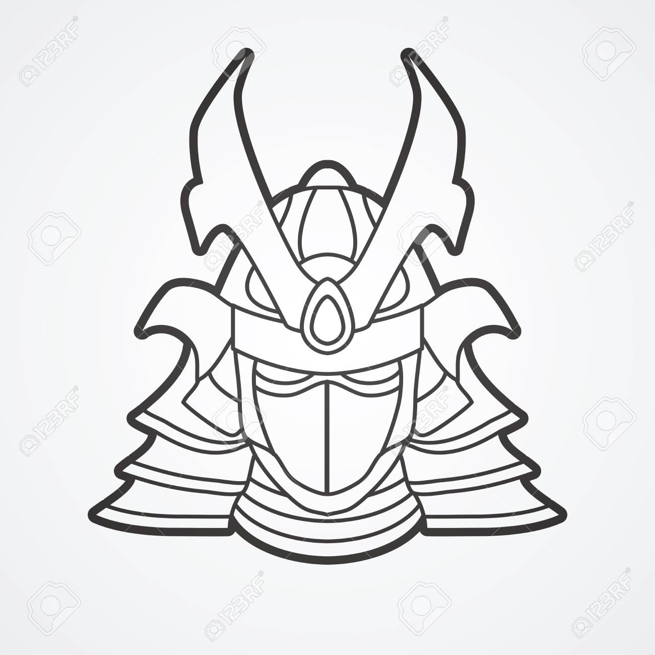 samurai mask outline graphic vector royalty free cliparts vectors