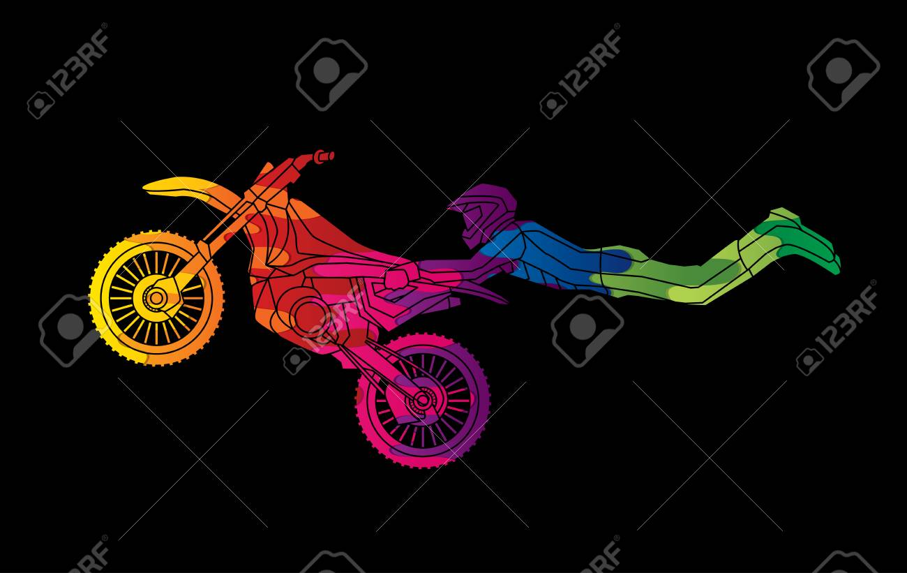 Freestyle Motocross Flying Trick Designed Using Melting Colors Royalty Free Cliparts Vectors And Stock Illustration Image 70281515