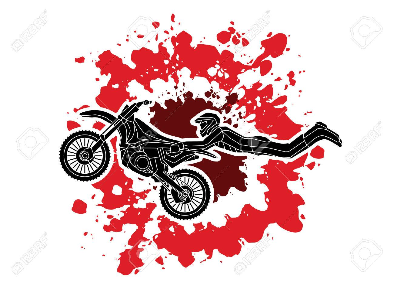 Freestyle Motocross Flying Trick Designed On Splatter Blood Background Royalty Free Cliparts Vectors And Stock Illustration Image 70258253