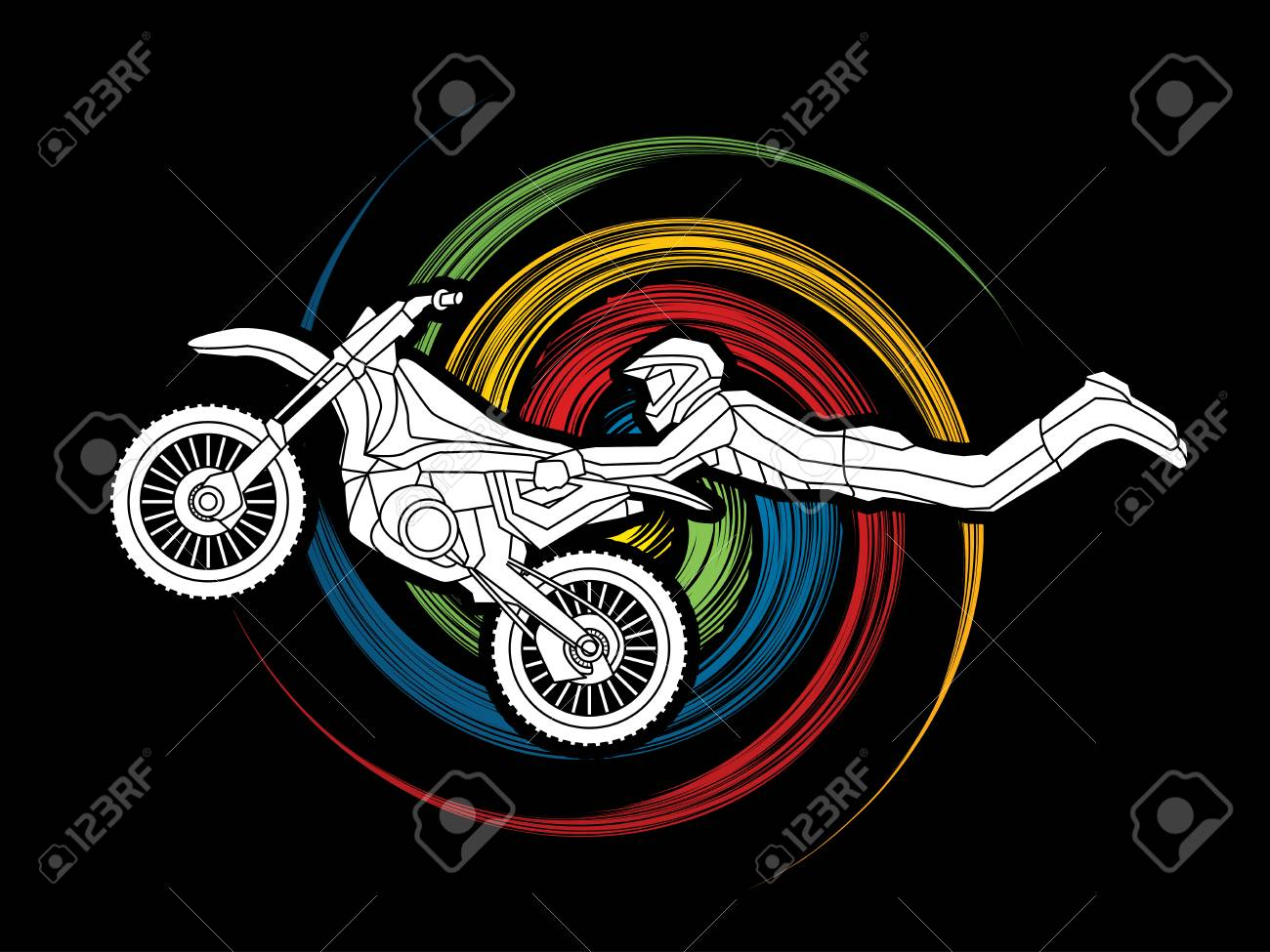 Freestyle Motocross Flying Trick Designed On Spin Wheel Background Royalty Free Cliparts Vectors And Stock Illustration Image 70272143